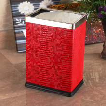 Leather Surrounded Stainless Steel Top Push Dust Bin (GA-10LD)