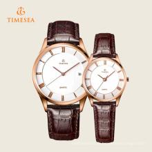 Herren Damenmode Leder Edelstahl Quarz-Armbanduhr 70035
