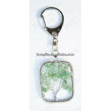 La piedra natural de la viruta de Aventurine ató con alambre el llavero afortunado del colgante del árbol