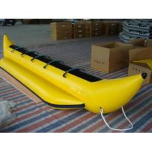 Amarela, inflável, 5, pessoa, banana, bote