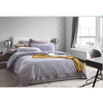 100%Cotton Stripe Linen Full Size 400T Sateen Dobby Sheet Set