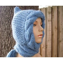 Made to Order Hand Knitted Hooded Scarf Shawl Made in China
