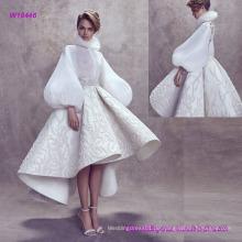 New Fashion Elegant Ballon Ärmel High Neckline Brautkleid mit Tee Lengh Flare Rock