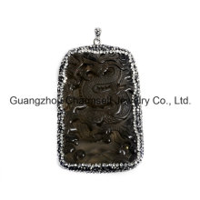 Hot Selling Fashion Gemstone Pendant with Crystal Rhinestone Caps