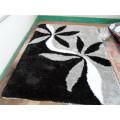 Schwarz Grau Blume Seide Teppich