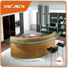 La mejor opción de chapa de madera plana paquete de gabinete de cocina con fregadero y grifo
