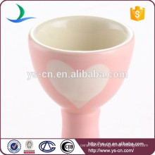 Pink loving heart decal cute ceramic egg cup holder