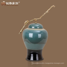 green color qualified factory supply ceramic jar with copper handle