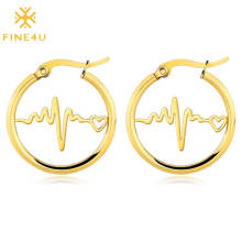 2020 popular stainless steel solid gold simple heartbeat shape hoop earrings