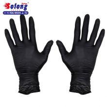 Solong tattoo free ambidextrous latex exam grade authorized black tattoo nitrile gloves