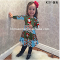 2017 Atacado Colorido Árvore de Natal Impresso Crianças Cothing Meninas Vestidos Em Estoque Itens Crianças Menina Vestido