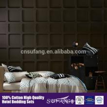 80% tela de satén de algodón 100% bordado de flores patrón de ropa de cama