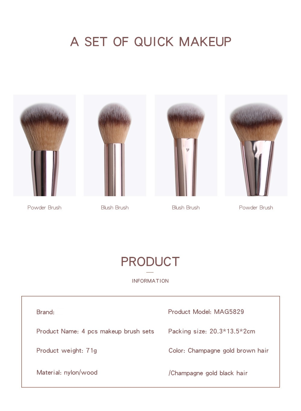 4 Piece Champagne Gold Makeup Brushes set name