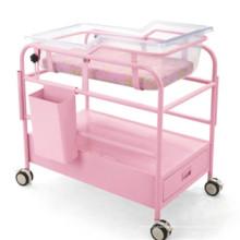 Chariot bébé rose avec boîte à gants et tiroir