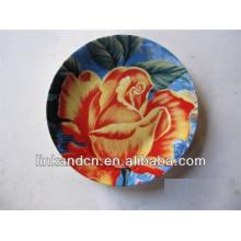 Impresión de la flor fantástica del arte redondo mantequilla de cerámica / platos de la torta