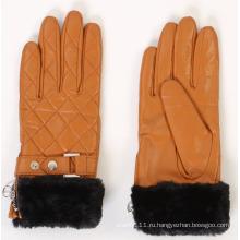 Леди искусственного меха манжеты кожаные перчатки для вождения (YKY5168)