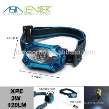 Productos de líder de Asia BT-4889 XPE 3W LED USB cabeza de caza de luz