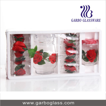 8PCS Printing Glass Drinking Set avec Polyfoam Pack
