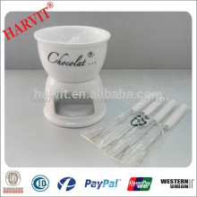 Hot Sale White Ceramic Fondue Sets With Decal Chocolate Fondue Set With Forks