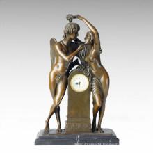 Clock Statue Adam Eve Bell Bronze Sculpture Tpc-037