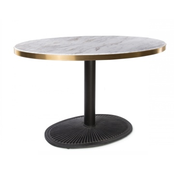 Meja Makan Restoran Round Marble Top Single Leg