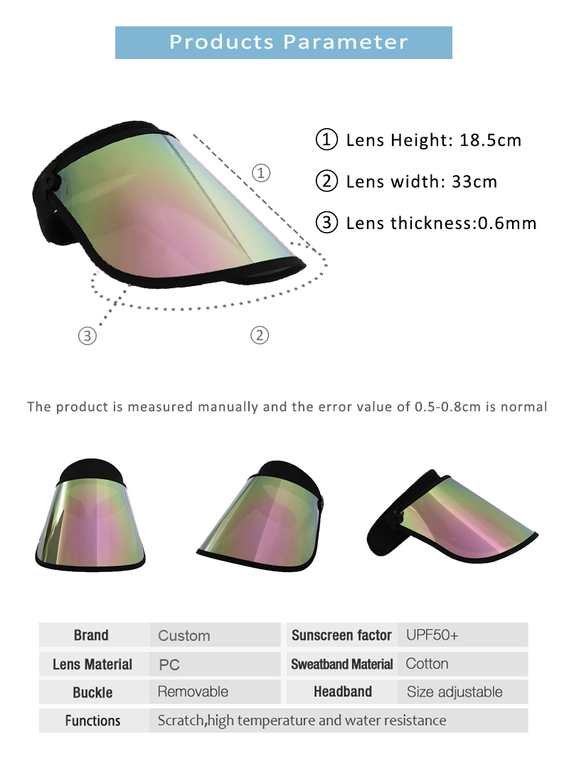 Pink Visor Face Shield Sun Protection Beach Sun Visor Hat