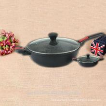 Revêtement en pierre anti-adhésif couvercle en verre wok