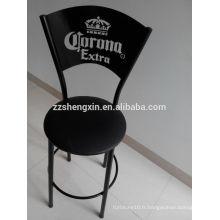 Corona Metal Backrest Bar Chair, moderne à la mode en cuir noir tabouret de bar avec coussin