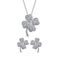 925 Silver Four Leaf Clover Pendant Necklace and Earrings Set