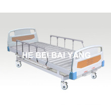 (A-69) -- Movable Double-Function Manual Hospital Bed with ABS Bed Head