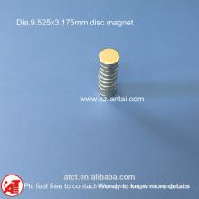 dia.9.525x3.175mm disc magnets / D3/8x1/8inch neodymium disk magnet / neodymium round magnet