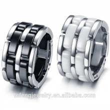En gros nouveau design canal bijoux en céramique noir anneau