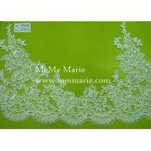 Weißes Spitzengewebe mit Blumen-Ordnungs-Brauthochzeits-Spitze-Gewebe strickte Spitze-Gewebe CTC459