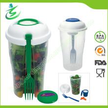 Чашка для салата с вилкой и гардеробным контейнером