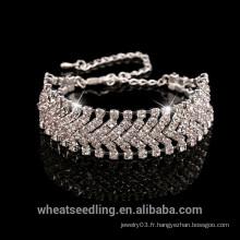 Bracelet en argent sterling en vrac 925 avec bracelet en cristal, femme