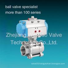 Stainless Steel 304 Pneumatic Actuator 3-PC Ball Valve