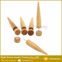 Cosecha falsa del extensor de madera natural orgánico de la joyería del cuerpo del oído de la moda