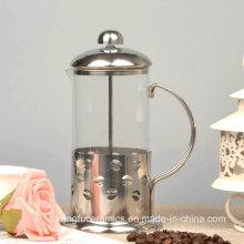 Belle cafetière de presse française en verre borosilicaté résistant à la chaleur