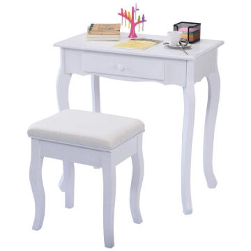 Vanity Table Jewelry Makeup Desk Bench Dresser w/ Stool White