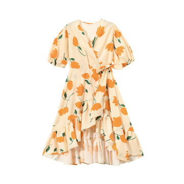Fashion Wanita Cotton Floral Printed Dress