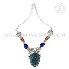 Illustrious multi Edelstein silberne Halskette Großhandel 925 Sterling Silber Schmuck indischen Schmuck