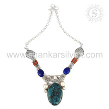 Collar de plata de la piedra preciosa multi ilustre venta al por mayor 925 joyería de la joyería de la plata esterlina joyería