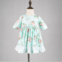 girls reversible pink and green floral spring twirly dress