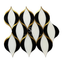 Soulscrafts White Thassos Mixed Brass Water Jet Marble Mosaic Tile for Wall Decoration