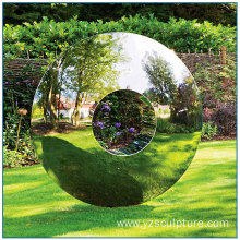 Modern Garden Art High Polished Mirror Circle Stainless Steel Sculpture