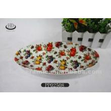 Volles Abziehbild der keramischen Fruchtplatte, Porzellanteller, Keramikplatte mit Abziehbild