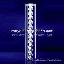 Cadeia de laser K9 3D gravada cristal com forma de pilar