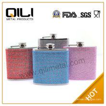 FDA 6oz colorful diamond flagon with crystal logo