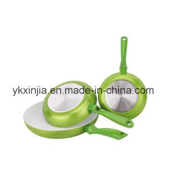 Kitcheneware 3 PCS Aluminum Metallic Paint Fry Pan Set