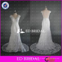 ED Bridal Sexy Backless Cap Sleeve Vintage Dentelle Longueur de plancher Robes de mariée blanche